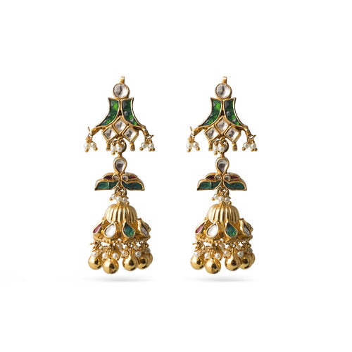 MULTI JADTAR KUNDAN DOOL EARRINGS