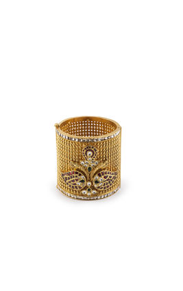 MULTI KUNDAN GOLDEN BALL BROAD KADA TAKKAR WORK KUNDAN BANGLES