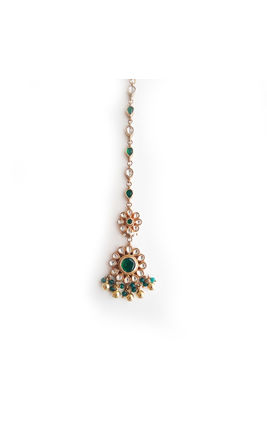 GREEN WHITE KUNDAN FLOWER TIKKA