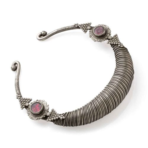 PINK STONE SILVER AFGHANI HASDI NECKLACE