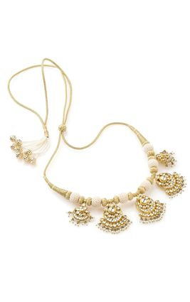WHITE KUNDAN CHAND PIECES NECKLACE SET