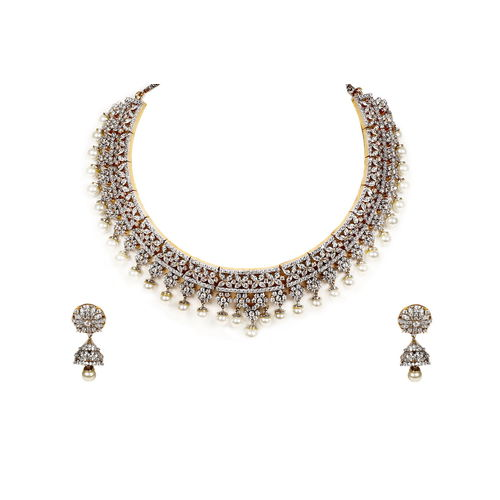 CZ DIAMOND&PEARL NECKLACE SET