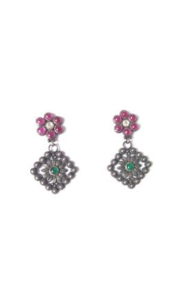 92.5 SILVER BASED GREEN PINK STONE TEMPLE EARRINGS