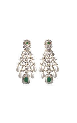 White pearl drop and green onyx stone CZ Earrings