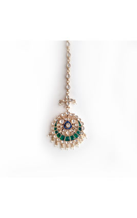 WHITE GREEN & BLUE KUNDAN CHAND TIKKA