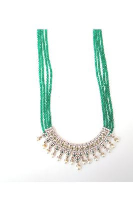CZ DIAMOND GREEN HALF NECKLACE WITH FOUR LINE ONYX MALA