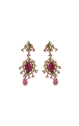 PINK & WHITE KUNDAN EARRINGS