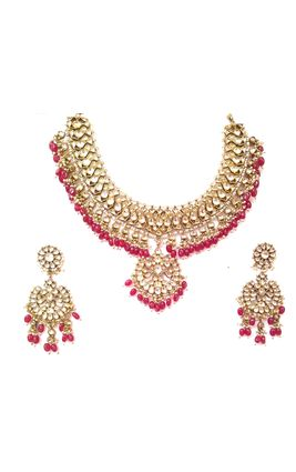FULL WHITE KUNDAN SILVER NECKLACE SET
