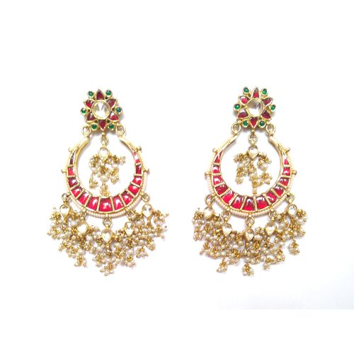 MULTI KUNDAN CHAND EARRING
