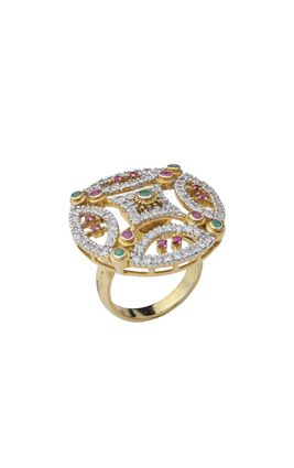 EMERALD RUBY CZ DIAMOND RING