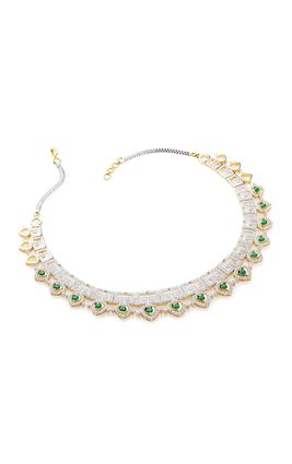 GREEN ONYX CZ DIAMOND NECKLACE SET
