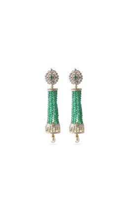 Green onyx beads CZ earrings