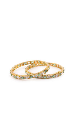 EMERALD STONE CZ DIAMOND BANGLES