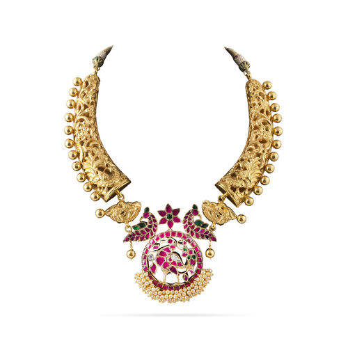 MULTI KUNDAN STONE CENTER PIECE WITH GOLDEN CARVING PIECE AASHNA NECKLACE