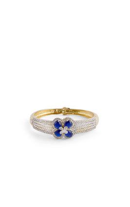 CZ DIAMOND IN CENTER BLUE FLOWER BRACELET