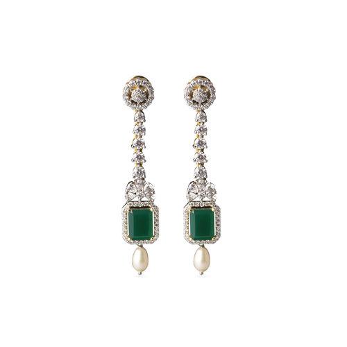 Green onyx stone CZ earrings