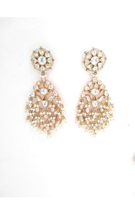 FULL WHITE KUNDAN LONG EARRING
