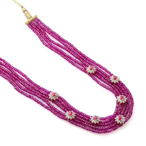 RUBY STONE CZ DIAMOND 5 LINE PINK JAIPURI NECKLACE SET