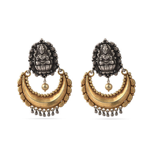Golden silver chand earrings