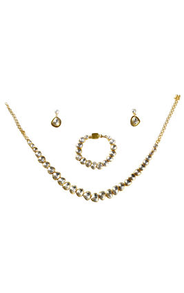 WHITE KUNDAN UNSHAPE NECKLACE SET