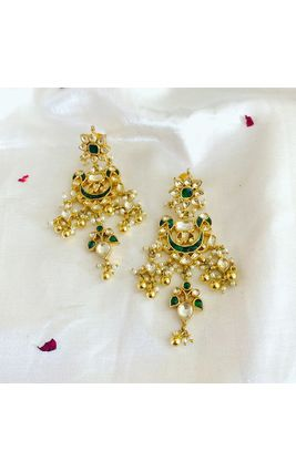 GREEN WHITE KUNDAN LONG EARRINGS