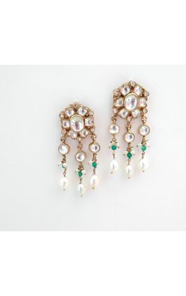 FULL WHITE KUNDAN EARRING