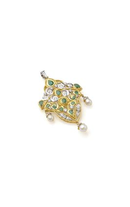 EMERALD STONE BIG CZ DIAMOND PENDANT SET