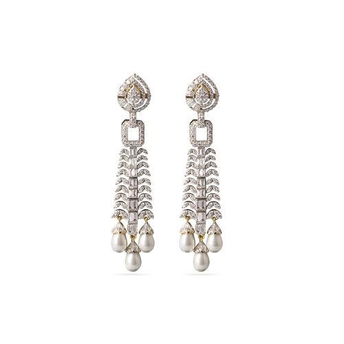 White pearl drops CZ earrings
