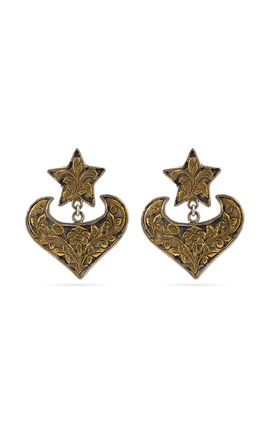 Gold & silver carving earrings