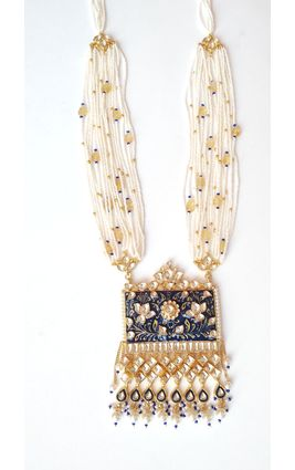BLUE ENAMEL FULL WHITE KUNDAN MALA PENDANT SET
