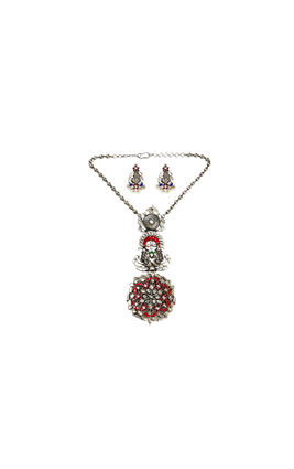 PINK WHITE KUNDAN PEACOCK AASHNA NECKLACE SET