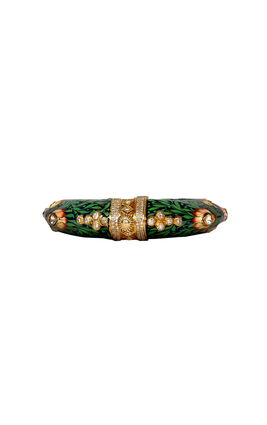 GREEN ENAMEL KUNDAN BANGLE