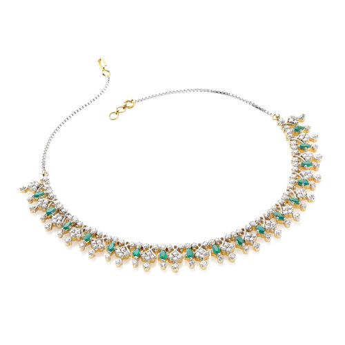 GREEN MARQUISE CZ DIAMOND NECKLACE SET