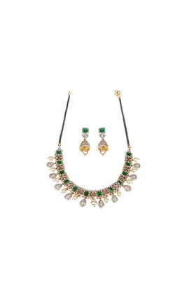 GREEN ONYX ST CZ DIAMOND NECKLACE SET