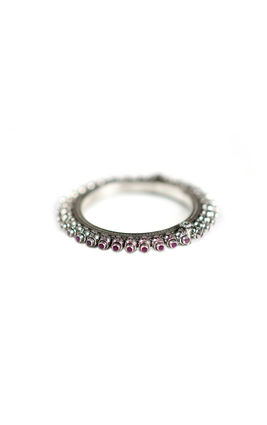 RUBY STONE TEMPLE OXIDISED BANGLE