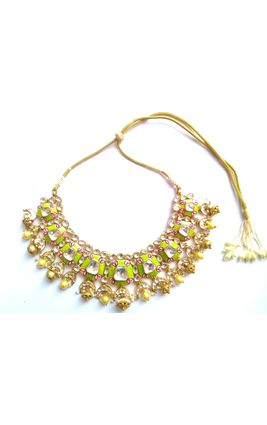 FULL WHITE KUNDAN PARROT GREEN AND PINK MINA NECKLACE SET