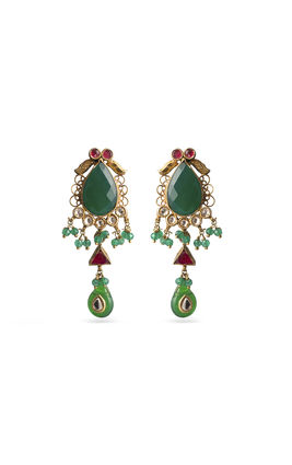 ONYX KUNDAN EARRINGS