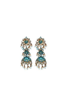 TURQUOISE & WHITE KUNDAN DOOL EARRINGS