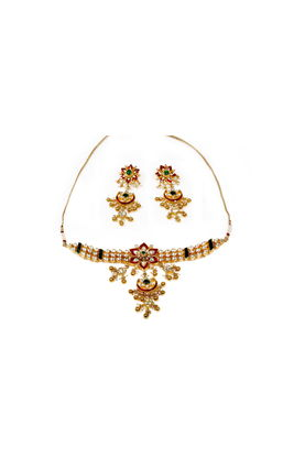 MULTI KUNDAN FLOWER CHAND NECKLACE SET