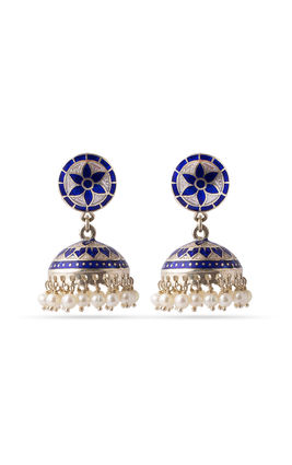 Silver enamel earrings with pearls