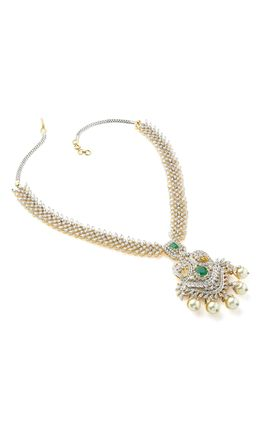 GREEN ONEX STONE MARQUISE CZ DIAMOND NECKLACE SET