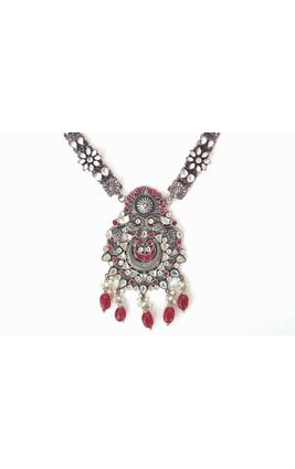 WHITE MAROON STONE 92.5 SILVER NECKLACE