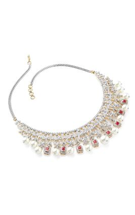 RUBY AND PEARL CZ DIAMOND NECKLACE SET