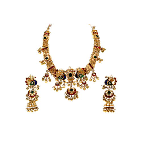 MULTI KUNDAN PEACOCK CHAND NECKLACE SET
