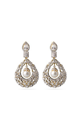 White pearl CZ earrings