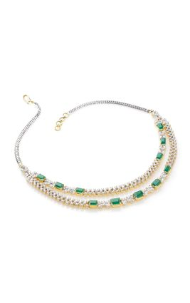 GREEN ONYX CZ DIAMOND 2 LINE NECKLACE SET