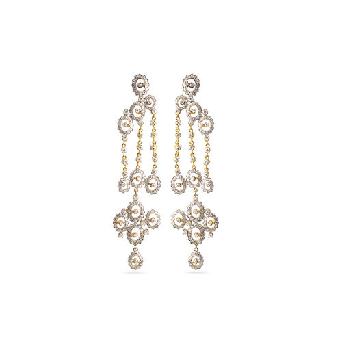 Gold silver polish CZ earrings
