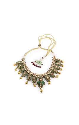 MULTI KUNDAN MANGO PIECE BIKANERI NECKLACE SET