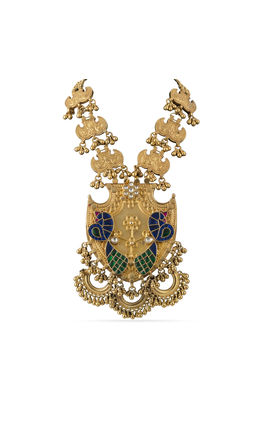 MULTI KUNDAN STONE PEACOCK PIECE GOLDEN AASHNA NECKLACE