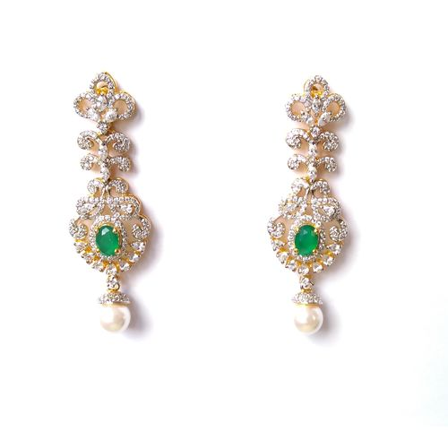 CZ WITH GREEN ONYX PEARL DROPPED SILVER BASED EARRING